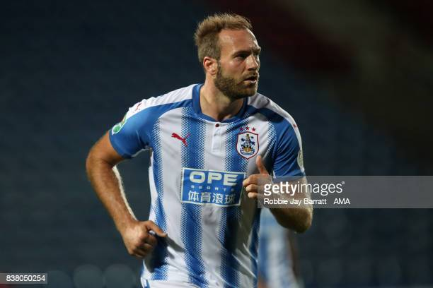 Laurent Depoitre of Huddersfield Town during the Carabao Cup Second Round match between Huddersfield Town and Rotherham United at The John Smiths...