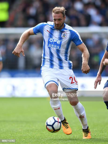 Laurent Depoitre of Huddersfield Town during the Premier League match between Huddersfield Town and Tottenham Hotspur at John Smith's Stadium on...