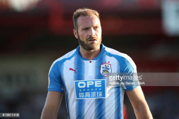 Laurent Depoitre of Huddersfield Town during the preseason friendly match between Accrington Stanley and Huddersfield Town at Wham Stadium on July 12...