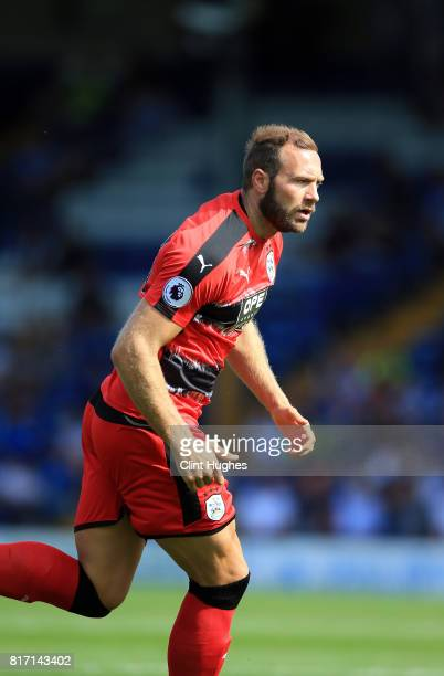Laurent depoitre of Huddersfield Town in action during the pre season friendly game against Bury at Gigg Lane on July 16 2017 in Bury England