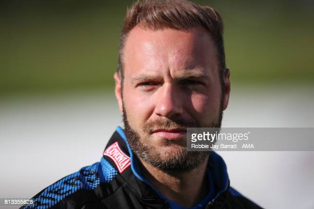 Laurent Depoitre of Huddersfield Town prior to the preseason friendly match between Accrington Stanley and Huddersfield Town at Wham Stadium on July...