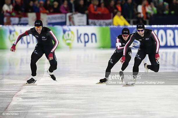Laurent Dubreuil Christopher Fiola and Vincent De Haitre of Canada competes in the Team Sprint Men during ISU World Cup Speed Skating Day 2 on...