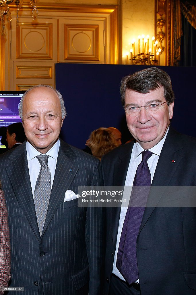 <a gi-track='captionPersonalityLinkClicked' href=/galleries/search?phrase=Laurent+Fabius&family=editorial&specificpeople=540660 ng-click='$event.stopPropagation()'>Laurent Fabius</a> and Academician <a gi-track='captionPersonalityLinkClicked' href=/galleries/search?phrase=Xavier+Darcos&family=editorial&specificpeople=782029 ng-click='$event.stopPropagation()'>Xavier Darcos</a> attend French Minister of Foreign Affairs <a gi-track='captionPersonalityLinkClicked' href=/galleries/search?phrase=Laurent+Fabius&family=editorial&specificpeople=540660 ng-click='$event.stopPropagation()'>Laurent Fabius</a> and Actress Isabelle Huppert launch 'Le Grand Tour' at Quai d'Orsay on January 14, 2016 in Paris, France.