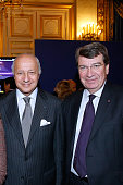 Laurent Fabius and Academician Xavier Darcos attend French Minister of Foreign Affairs Laurent Fabius and Actress Isabelle Huppert launch 'Le Grand...