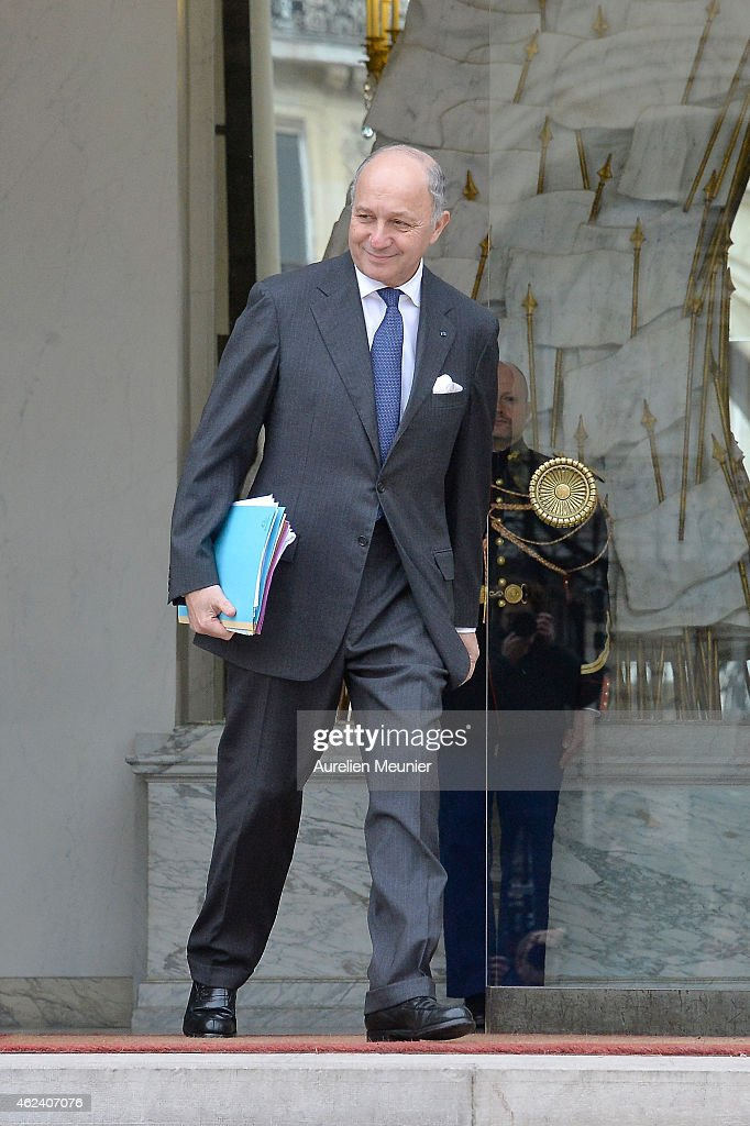 <a gi-track='captionPersonalityLinkClicked' href=/galleries/search?phrase=Laurent+Fabius&family=editorial&specificpeople=540660 ng-click='$event.stopPropagation()'>Laurent Fabius</a>, French Minister of Foreign Affairs and International Development leaves the Elysee Palace after a weekly cabinet meeting on January 28, 2015 in Paris, France.