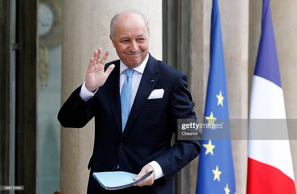 Laurent Fabius, French Minister of Foreign Affairs and International Development arrives to attend a meeting with French President Francois Hollande at the Elysee Presidential Palace on November 29, 2015 in Paris, France. France will host climate change conference COP21 in Paris from November 30 to December 11, 2015.