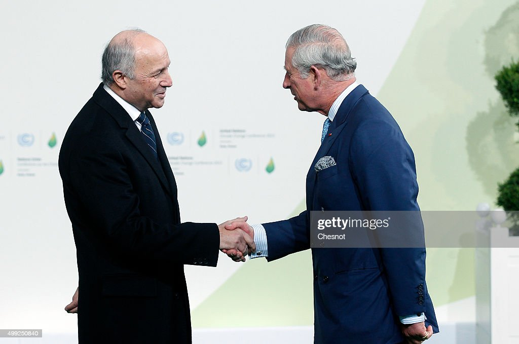 Laurent Fabius, French Minister of Foreign Affairs and International Development (L) welcomes Prince Charles, Prince of Wales as he arrives for the COP21 United Nations Climate Change Conference on November 30, 2015 in Le Bourget, France. More than 150 world leaders are meeting for the 21st Session of the Conference of the Parties to the United Nations Framework Convention on Climate Change (COP21/CMP11), from November 30 to December 11, 2015