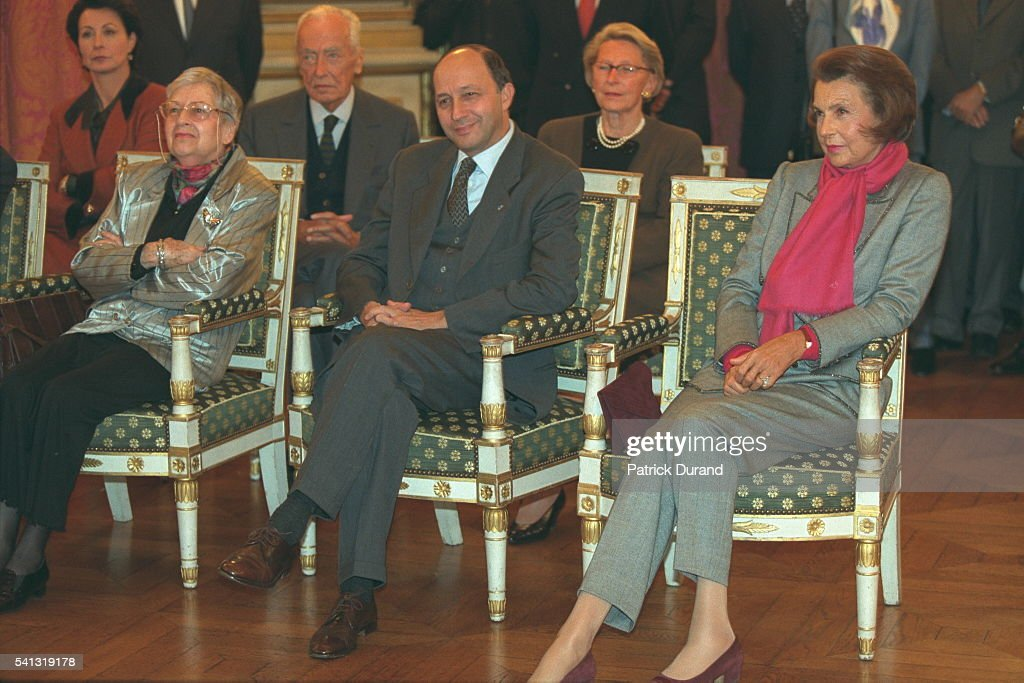 X, Laurent Fabius, <a gi-track='captionPersonalityLinkClicked' href=/galleries/search?phrase=Liliane+Bettencourt&family=editorial&specificpeople=2343695 ng-click='$event.stopPropagation()'>Liliane Bettencourt</a>, Michèle Védrine (wife of the minister) & André Bettencourt
