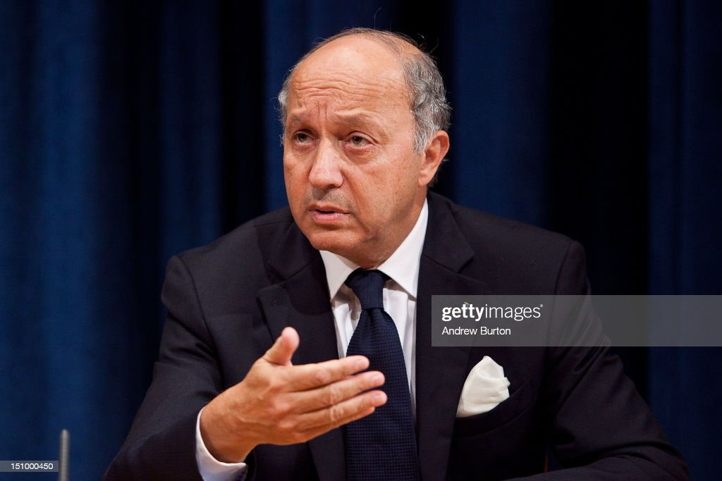 <a gi-track='captionPersonalityLinkClicked' href=/galleries/search?phrase=Laurent+Fabius&family=editorial&specificpeople=540660 ng-click='$event.stopPropagation()'>Laurent Fabius</a>, minister for Foreign Affairs of France and president of the UN Security Council, speaks at a news conference with William Hague, foreign secretary of the United Kingdom, (not seen) on the continuing situation in Syria on August 30, 2012 in New York City. The British and French representatives urged for greater UN resources to be allocated to the Syrian refugees currently displaced by the nation's ongoing civil war. UN Security Council negotiations regarding the situation in Syria collapsed last month.