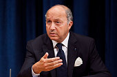 Laurent Fabius minister for Foreign Affairs of France and president of the UN Security Council speaks at a news conference with William Hague foreign...