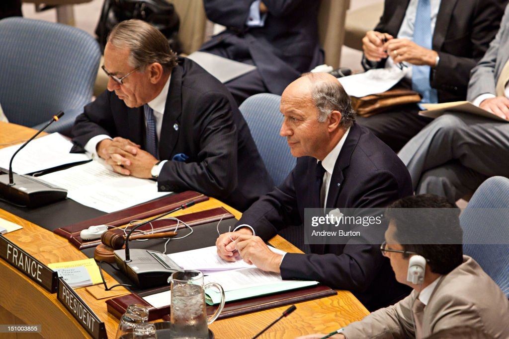 <a gi-track='captionPersonalityLinkClicked' href=/galleries/search?phrase=Laurent+Fabius&family=editorial&specificpeople=540660 ng-click='$event.stopPropagation()'>Laurent Fabius</a> (C), minister for Foreign Affairs of France and president of the United Nations (UN) Security Council, attends a UN Security Council meeting regarding the on-going situation in Syria on August 30, 2012 in New York City. UN Security Council negotiations regarding the situation in Syria collapsed last month.