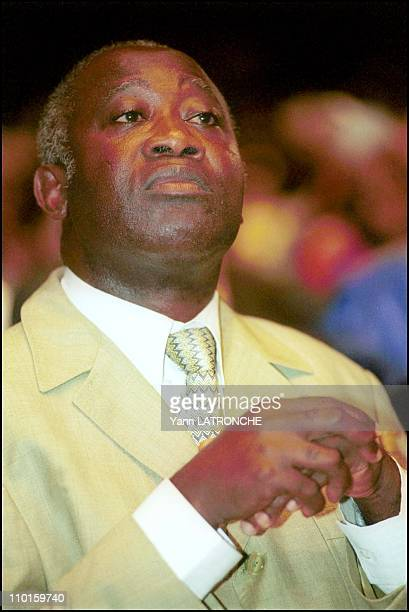 Laurent Fbagbo in country in Abidjan Cote d'Ivoire on October 21 2000