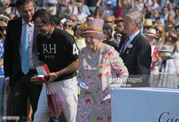 Laurent Feniou Adolfo Cambiaso Queen Elizabeth II and Jock GreenArmytage attend the Cartier Queen's Cup Polo final at Guards Polo Club on June 18...