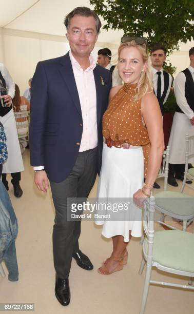 Laurent Feniou and Hanneli Rupert attend the Cartier Queen's Cup Polo final at Guards Polo Club on June 18 2017 in Egham England