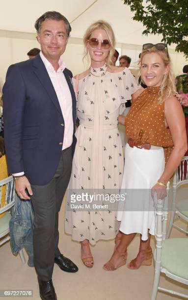 Laurent Feniou Caroline Winberg and Hanneli Rupert attend the Cartier Queen's Cup Polo final at Guards Polo Club on June 18 2017 in Egham England