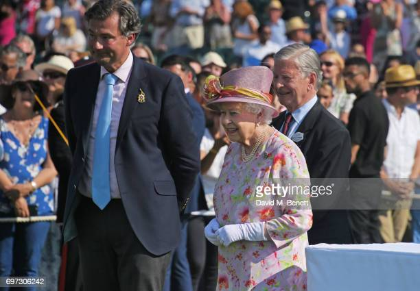 Laurent Feniou Queen Elizabeth II and Jock GreenArmytage attend the Cartier Queen's Cup Polo final at Guards Polo Club on June 18 2017 in Egham...