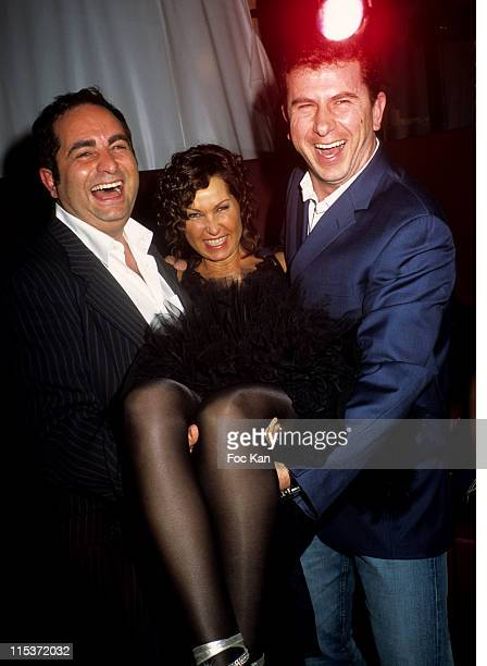Laurent Fontaine Evelyne Thomas Pascal Bataille during Evelyne Thomas Birthday Party at Club de L'Etoile in Paris France