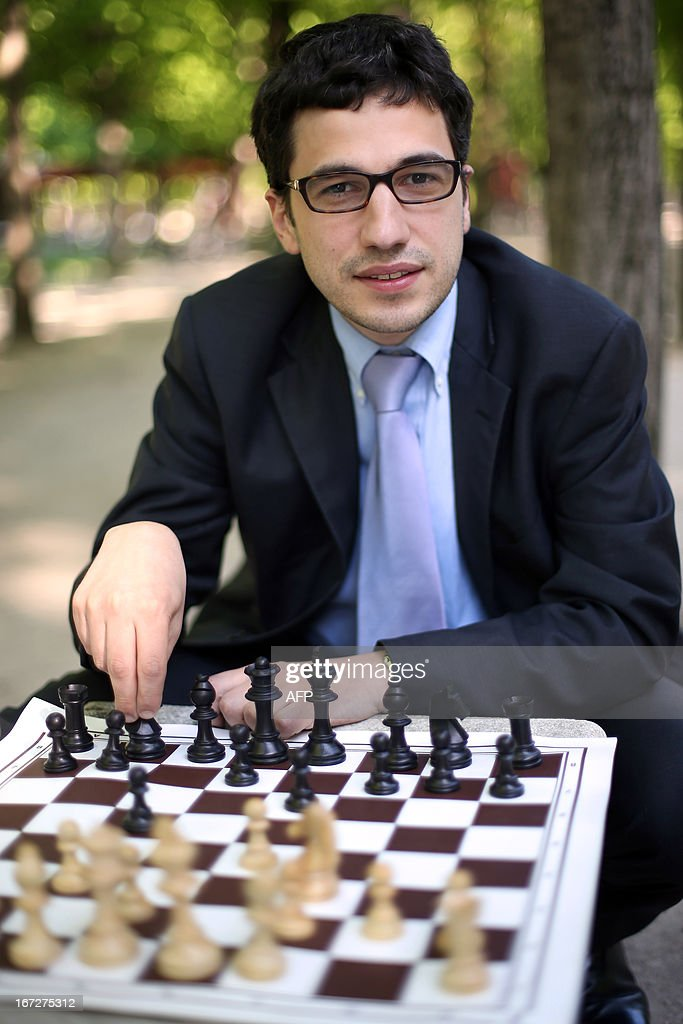 Laurent Fressinet poses during the Alekhine Memorial chess tournament on April 23, 2013 in Paris. The tournament is a 10-player single round competition, with the first half held in Paris from April 20 to 25, and the second half in the Russian State Museum in St. Petersburg from April 26 to May 1st.