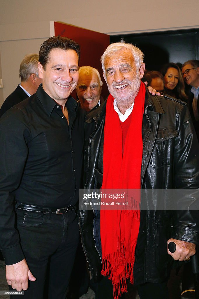 Laurent Gerra and actor Jean-Paul Belmondo poses backstage following the show of impersonator Laurent Gerra 'Un spectacle Normal' at L'Olympia on December 20, 2013 in Paris, France.