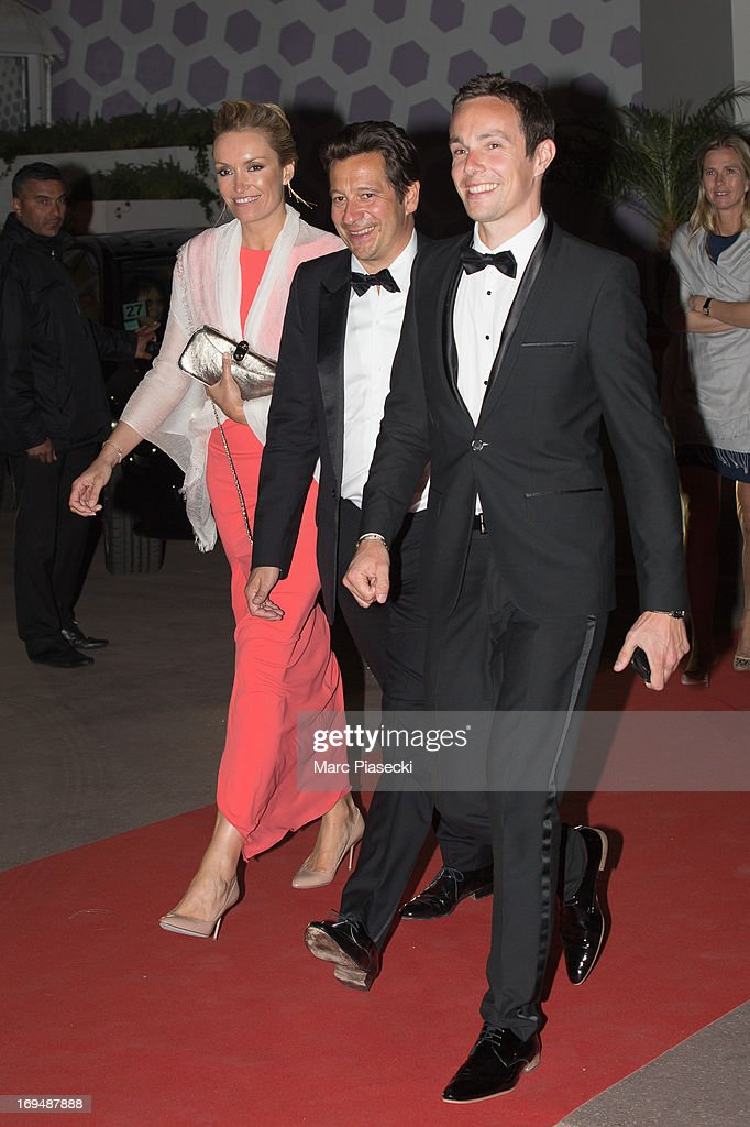 <a gi-track='captionPersonalityLinkClicked' href=/galleries/search?phrase=Laurent+Gerra&family=editorial&specificpeople=538435 ng-click='$event.stopPropagation()'>Laurent Gerra</a> (C) and guests are seen leaving the 'Agora' dinner during the 66th Annual Cannes Film Festival on May 25, 2013 in Cannes, France.