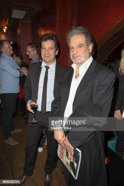 Laurent Gerra and Raphael Mezrahi attend 'Carnets d'un Sale Gosse' Laurent Gerra Signing his book at Buddha Bar on October 9 2017 in Paris France