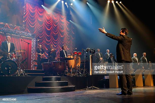 Laurent Gerra and the Frederic Manoukian Big Band attend the Laurent Gerra Show at Palais des Sports on December 2326 and 27 2014 in Paris France