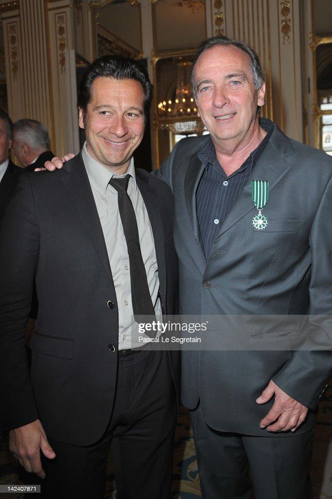 Laurent Gerra and Yves Lecoq pose at Ministere de la Culture on April 4, 2012 in Paris, France.
