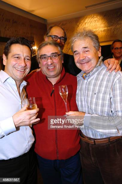 Laurent Gerra Bandmaster Frederic Manoukian and singer Pierre Perret pose backstage following the show of impersonator Laurent Gerra 'Un spectacle...
