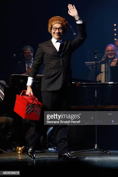 Laurent Gerra imitates the French President Francois Hollande during the Laurent Gerra Show at Palais des Sports on December 25 2014 in Paris France