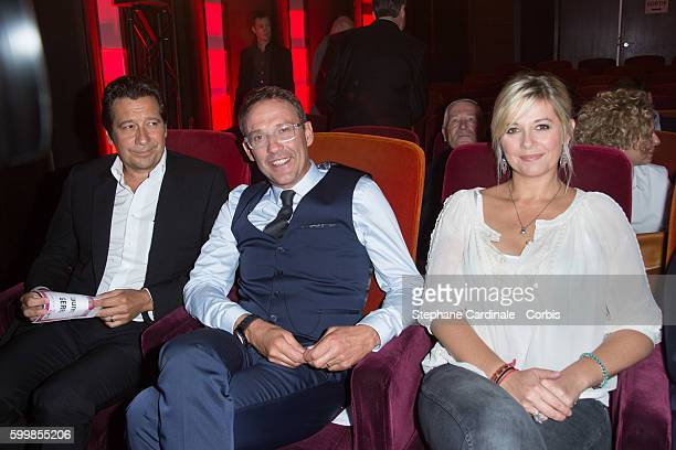 Laurent Gerra Julien Courbet and Flavie Flament attend the RTL Press Conference at Elysees Biarritz Cinema on September 7 2016 in Paris France