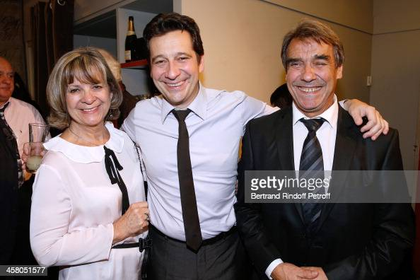 Laurent Gerra poses backstage with his mother Nicole and father JeanChristian known as Nanou following the show of impersonator Laurent Gerra 'Un...