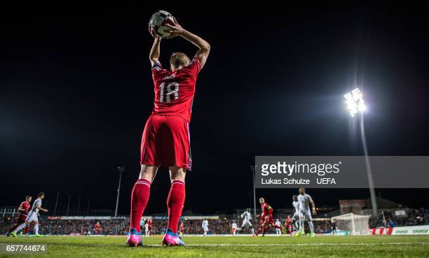 Laurent Jans of Luxembourg during a throwin during the FIFA 2018 World Cup Qualifier between Luxembourg and France at Stade Josy Barthel on March 25...