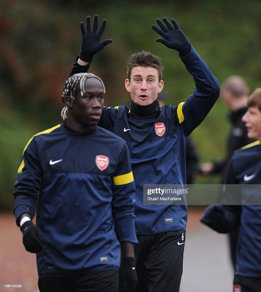 Laurent Koscielny and Bacary Sagna of Arsenal during a training session at London Colney on November 20, 2012 in St Albans, England.