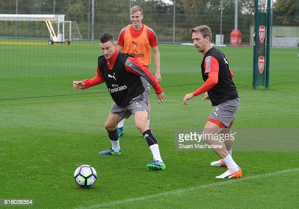 Laurent Koscielny and Nacho Monreal of Arsenal during a training session at London Colney on October 21 2016 in St Albans England