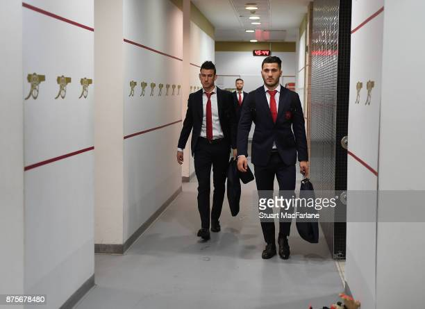 Laurent Koscielny and Sead Kolasinac in the Arsenal changing room before the Premier League match between Arsenal and Tottenham Hotspur at Emirates...