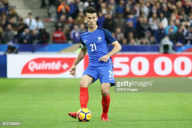 Laurent Koscielny in action during the friendly soccer match between France and Wales at Stade de France