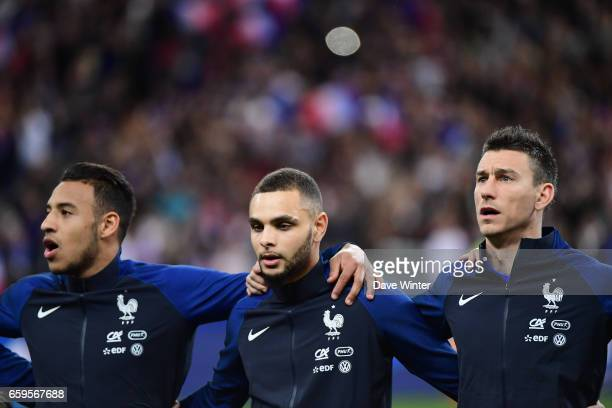 Laurent Koscielny Layvin Kurzawa and Corentin Tolisso of France before the friendly match between France and Spain at Stade de France on March 28...