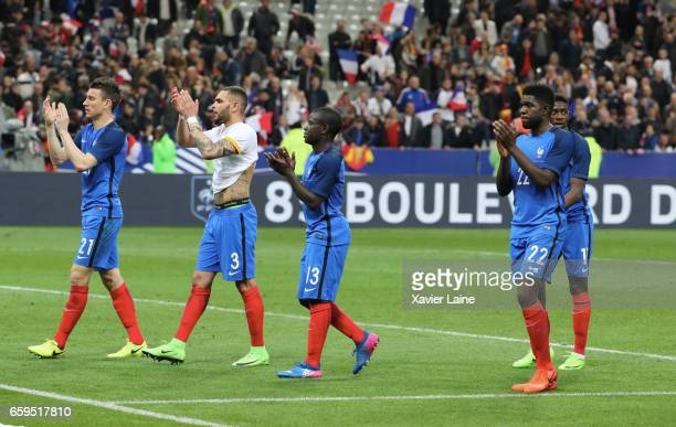 laurent Koscielny Layvin KurzawaN'Golo Kante and Samuel Umtiti of France are dispointed after the Friendly game between France and Spain at Stade de...