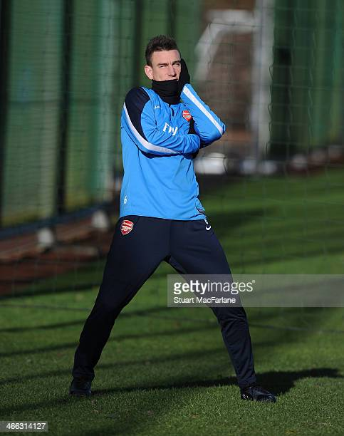 Laurent Koscielny of Arsenal before a training session at London Colney on February 1 2014 in St Albans England