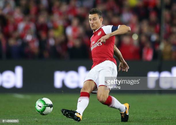 Laurent Koscielny of Arsenal controls the ball during the match between the Western Sydney Wanderers and Arsenal FC at ANZ Stadium on July 15 2017 in...