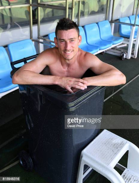 Laurent Koscielny of Arsenal cools off after an Arsenal Training Session at Yuanshen Sports Centre Stadium on July 17 2017 in Shanghai China