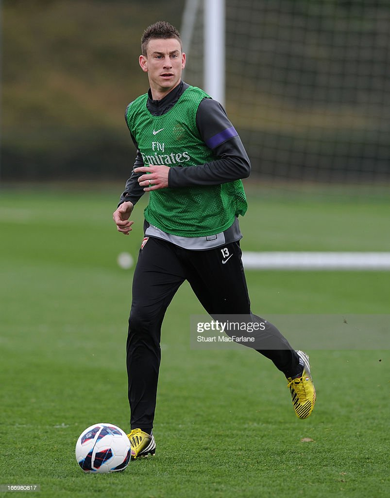 Laurent Koscielny of Arsenal during a training session at London Colney on April 19, 2013 in St Albans, England.