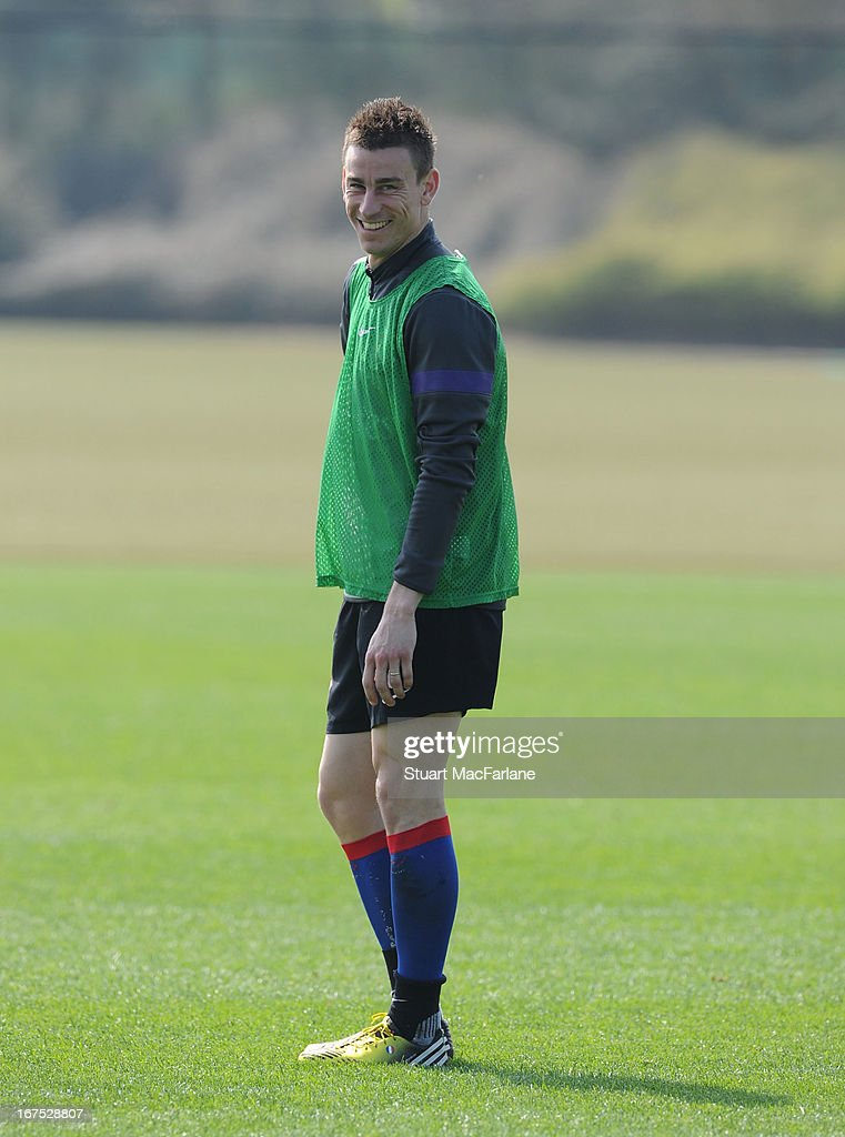 Laurent Koscielny of Arsenal during a training session at London Colney on April 26, 2013 in St Albans, England.
