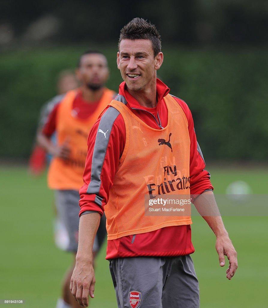 Laurent Koscielny of Arsenal during a training session at London Colney on August 19 2016 in St Albans England