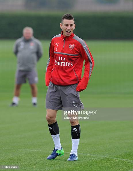 Laurent Koscielny of Arsenal during a training session at London Colney on October 21 2016 in St Albans England