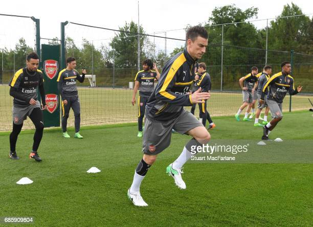 Laurent Koscielny of Arsenal during a training session at London Colney on May 20 2017 in St Albans England