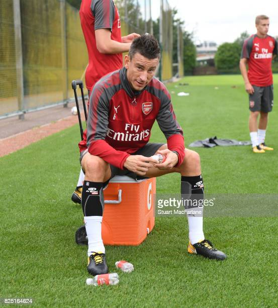Laurent Koscielny of Arsenal during a training session at London Colney on August 1 2017 in St Albans England