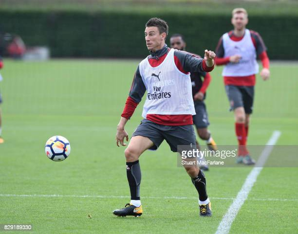 Laurent Koscielny of Arsenal during a training session at London Colney on August 10 2017 in St Albans England