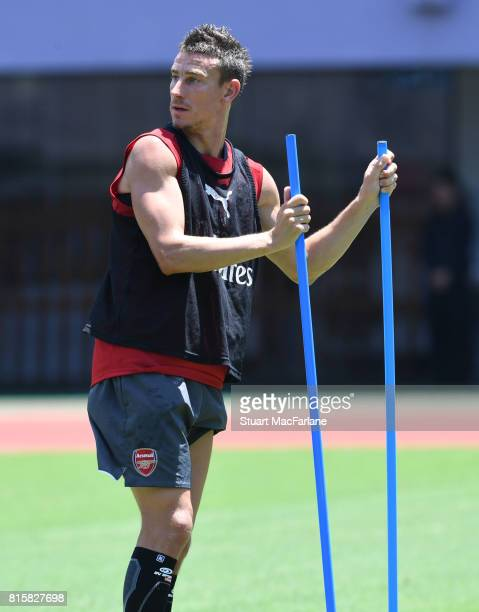 Laurent Koscielny of Arsenal during a training session at the Yuanshen stadium in Shanghi on July 17 2017 in Shanghai China