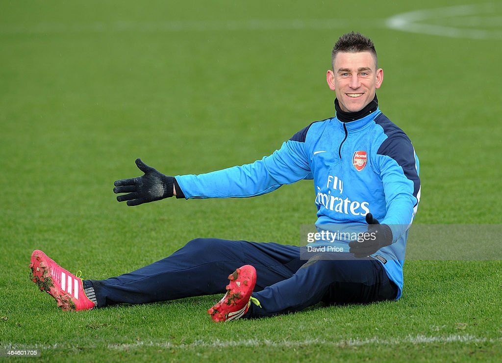 <a gi-track='captionPersonalityLinkClicked' href=/galleries/search?phrase=Laurent+Koscielny&family=editorial&specificpeople=2637418 ng-click='$event.stopPropagation()'>Laurent Koscielny</a> of Arsenal during Arsenal Training Session at London Colney on January 23, 2014 in St Albans, England.